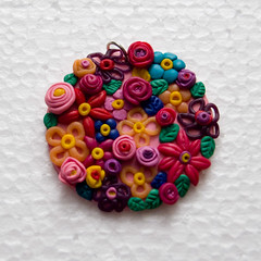 Flower paradise /   (Moonlight Witch) Tags: pink flowers green leaves rose yellow leaf handmade violet jewelry petal fimo clay  pendant polymer     bijouterie