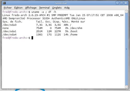 Occupation du disque dur avec ArchLinux
