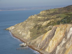 Chairlift and steps down to the Alum Bay beach