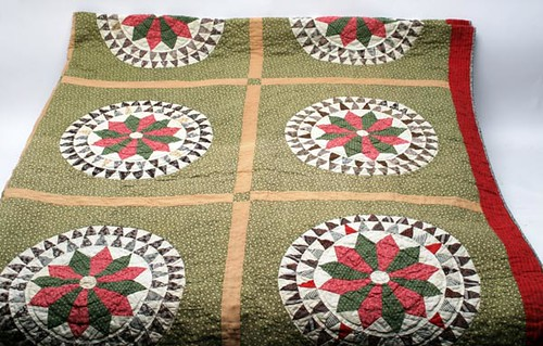 """SHENANDOAH VALLEY 19TH C. """"Mariners Compass"""" Pieced Quilt from the Wampler Estate ($123.20)"""