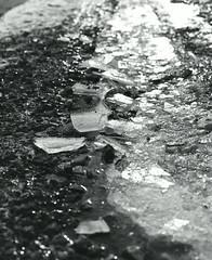 Shards, Feb. 2017 (Sassenach5) Tags: pentax pentax67 smctakumar6x7 105mm f24 mediumformat idealformat normallens ice crystals frozen 120film blackandwhite blackwhite noiretblanc schwarzweiss kodak kodaktrix400 trix analog shards broken