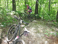Nice rocks on these trails. (k.steudel) Tags: park blue mountain bike wisconsin cycling state trails rocky trail biking mound singletrack schist