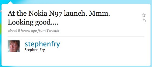 Twitter / Stephen Fry: At the Nokia N97 launch. M ...