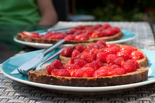 Strawberries on bread