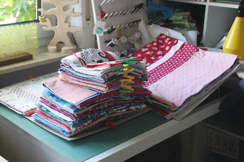 knitting needle rolls in progress.