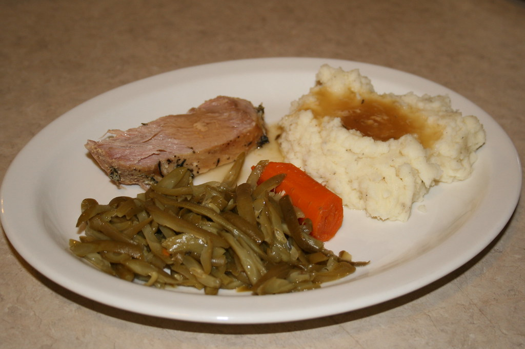 Pork Roast with Mashed Potato, gravy and green beans
