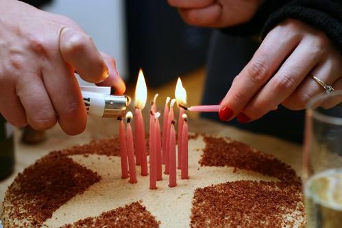 candles, tiramisu cake