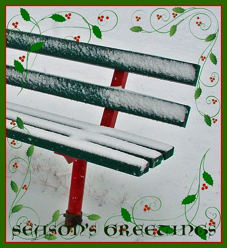 Season's Greetings: green park bench in snow