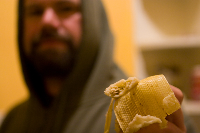 eating tamales