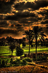 Egypt In One Photo (Ramiii) Tags: road trees sky sun plant tree field clouds canon landscape pyramid egypt palm ring cairo pyramids hdr ringroad tonemapped tonemapping ramymohsen