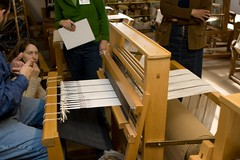 Tom Demonstrates (LollyKnit) Tags: pennsylvania weaving looms warps themannings weavingweekend