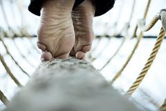 Tight Rope (Karen.Strolia) Tags: selfportrait feet interestingness toes fav50 rope gnarly balance wrinkled tiptoes fav25 fav100 fav200 fav150 fav75 estremità fav125 fav175