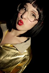 Olivia S, 2008 (elizabeth.wesst) Tags: red cute nerd gold glasses olivia lasvegas teeth nevada lips americanapparel clavicle goldjacket goldpants