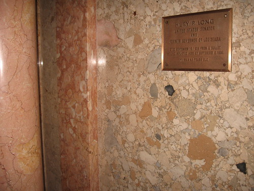 Plaque about and bullet hole from the assassination of Huey Long ...
