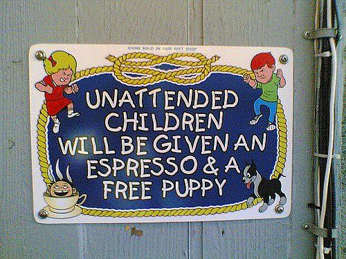 sign ignoring unattended children