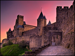 Cité de Carcassonne at sunrise 1 (west side) HDR (Antony....) Tags: france castle geotagged aude carcassonne hdr languedoc hdri photomatix citédecarcassonne aplusphoto geo:lat=43207178 geo:lon=2366481