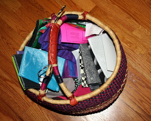 African basket stuffed to the brim with new fabric