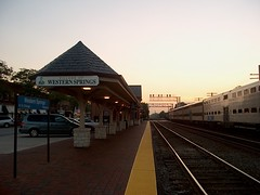 The Western Springs Illinois Metra commuter rail station at sunset. September 2006.