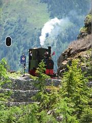 A blast on the whistle as Liseli approaches Chateau d'Eau (Jeremy R. Hartley) Tags: train switzerland swiss railway chamonix steamengine narrowgauge chatelard emosson decauville