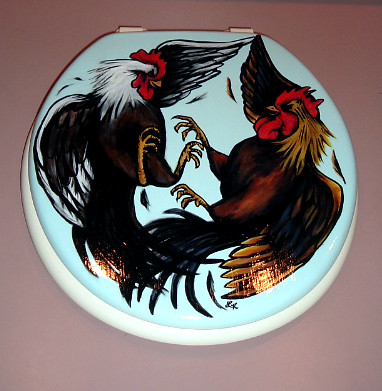 Wedding Band Tattoos. Rooster Fight Toilet Seat by .