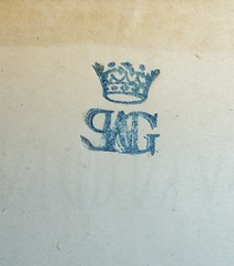 """Unidentified monogram (""""PAHG[?]"""") surmounted by a crown in blue ink (Provenance Online Project) Tags: stamps unidentified monograms provenance pennlibraries cultureclasscollection frenchcultureclasscollection fca100520a"""