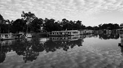 Reflection at the marina (Chapple.stephen) Tags: bw reflection clouds river houseboat blueribbonwinner supershot