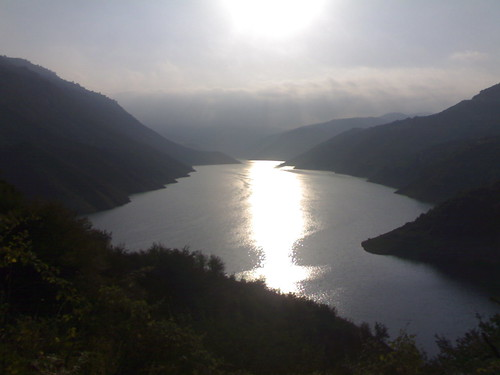 Sun over the Lake at Soleyman-tange Dam, Sari, Iran