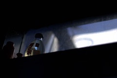 from H/for H (bradley gaskin) Tags: red black chicken window bottle pentax dirty h binoculars sake xo claude sa dirtywindow k100d smcfa50mmf14 justpentax stolenbinoculars thingsfromh photoforh