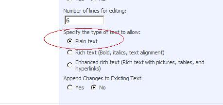Plain Text Setting