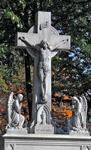 Calvary Roman Catholic Cemetery, in Saint Louis, Missouri, USA - crucifix monument, .jpg