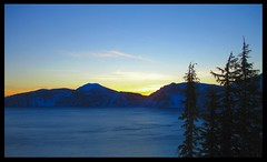 Crater Lake Sunset (mnt_goat_76) Tags: camping winter sunset sky copyright mountains nature colors clouds skiing steve lakes rollins cascades wilderness craterlakeoregon diamondclassphotographer flickrdiamond flickrelite mntgoat76