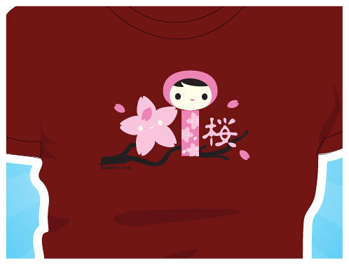 Kokeshi sakura shirt : Asian iCandy Store, Unique Asian Arts and Gifts From Independent Artists