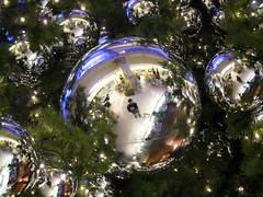 Christmas, within (xNstAbLe) Tags: sanfrancisco california christmas portrait usa selfportrait tree green me self reflections balls ornaments albero natale repetitionsofme