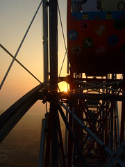 Sunset from a Ferris wheel (yh) Tags: sunset shadow vacation sky orange lines silhouette taiwan ferris