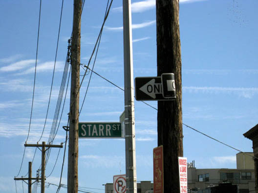 Starr Street One Way Sign