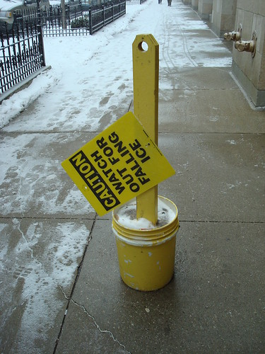 Caution: Watch for falling ice