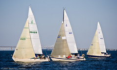 Three sailboats racing on the Chesapeake Bay (BACHarbin) Tags: usa motion wet water sailboat bay md waves sailing personal action yacht events bridges fast racing photoblog baybridge boating sail swift backlit mast annapolis sailboats quick runningwater watercraft chesapeakebay yachting regata boatrace williamprestonlanejrmemorialbridge chesapeakebaybridge sailcloth woodwindcruise submittedtophotoshelter