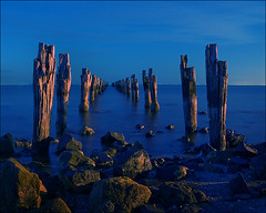 clifton-springs-1403-w (pw-pix) Tags: blue moon seascape abandoned water night bay pier paw jetty ruin australia victoria fullmoon decayed piles ruined geelong pictureaweek cliftonsprings paw2008