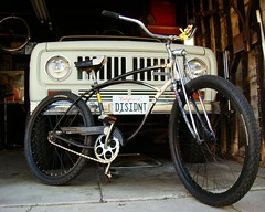 Dissident Rides (Wha'ppen) Tags: california bike bicycle vintage toy antique cartoon bicicleta scout oldschool retro international 1958 spitfire schwinn cruiser 1973 woodywoodpecker fattire ratbike bicyclekitchen binder heavyduty rhd headbadge beachcruiser balloontire springerfork middleweight 26inch ratride ratspit spinnertoy cyclekitchen