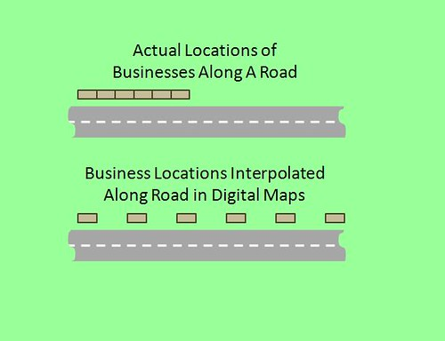 Addresses Distributed Along Roads in Online Maps