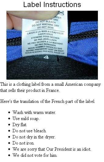 Label Instructions