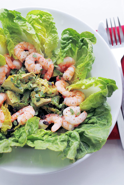 Prawns, Avocado and Lentils