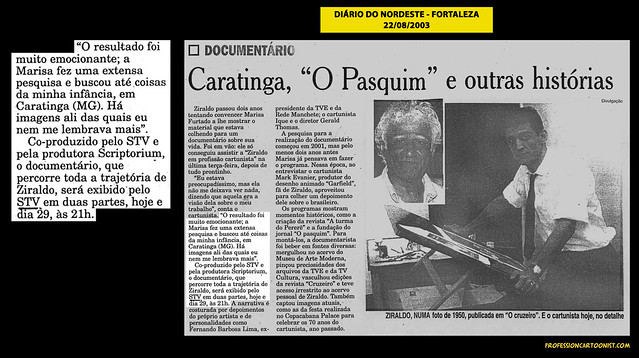 """""""Caratinga, O Pasquim e outras histórias"""" - Diário do Nordeste - 22/08/2003"""