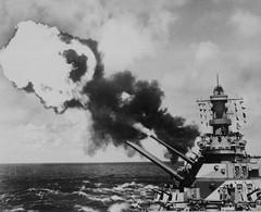 1944 Iowa firing her 16-inch main guns (Konabish ~ Greg Bishop) Tags: wwii iowa worldwarii ww2 warship manowar ussiowa dreadnaught battlewagon bb61 16inchprojectile battleshipiowa 50calibermark7gun bb61credited