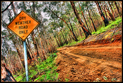 Dry or Die (Stephen Kinna Photography) Tags: road trees tree weather sign fire earth dry australia victoria dirt ranges hdr scorched excellence macedon yougotit plus4 plus4excellence invitedphotosonlyplus4