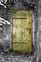 Door of magical garden (Oric1) Tags: door bw france color canon garden french eos 350d rebel interesting fantastic bestof jardin eu most mostinteresting porte magical 2007 smrgsbord hintofcolor colourartaward colourartawards betterthangood oric1