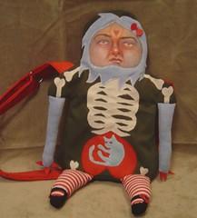 Doll-ish bag finished last night (unordinary_org) Tags: art face bag skeleton doll hand handmade painted purse sewn unordinary