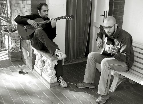 Playing guitars