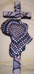 A heart for Africa cross mosaic completed with black grout (Heart Windows Art) Tags: africa sculpture art stone israel cross mosaic foam limestone sensational recycle reuse grout thinset pureandholy