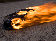 Flaming (JRyle79) Tags: county green sports car race racecar fire model downtown crash muscle lexington kentucky ky super burning flame burn american r co dodge wreck viper flaming supercar fayette sportscar gts 118 gtsr on